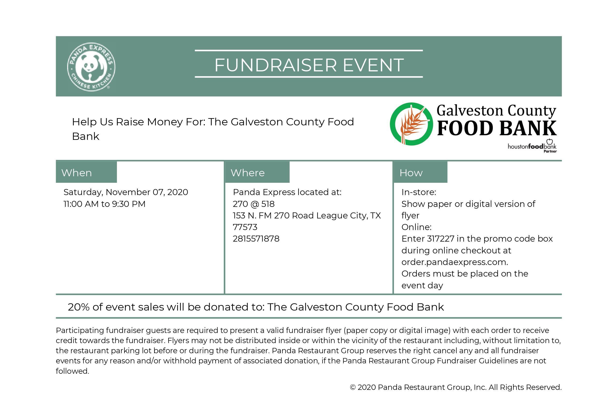 Panda Express Fundraising Day – Galveston County Food Bank